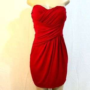 Red ruched strapless Express